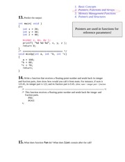 Pointers, Functions and Arrays