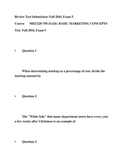 MKT220-750 Exam 5 (Fall14) - BASIC MARKETING CONCEPTS