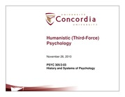 Class 23- Humanistic psychology