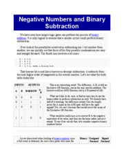 Negative Numbers and Binary Subtraction