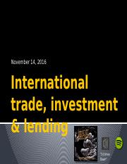 Lecture 19~International investment Fall 2016