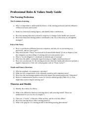 Professional Roles & Values Study Guide