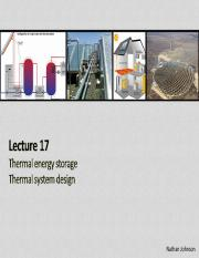Lecture 17 - Thermal Energy Storage and Thermal System Design(2)