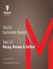 TOU221 Topic 12 Lecture