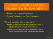 11-8b.- Capital Budgeting and Firm Valuation for the Levered Firm