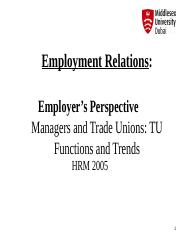HRM 2005 Lecture 16  Employer Perspectives