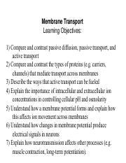 1 26 18 Membrane Transport I pdf - Membrane Transport