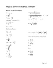 Physics 2214 Formula Sheet for Prelim 1_new