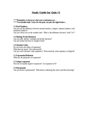 Study Guide for Quiz _1