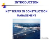 Introduction - Key Terms in Construction Management