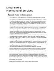 KMGT 643 Marketing of Services - Week 2 DQ