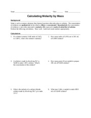 worksheet molarity by mass teacher naoh to make l solution what is 100 ml of. Black Bedroom Furniture Sets. Home Design Ideas