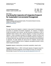 Dovers - Clarifying the imperative of integration research for sustainable env mgt (2005)