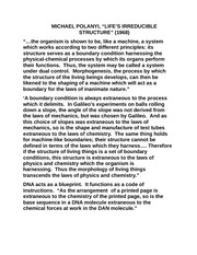 Phil 302 Life's Irreducable Structures Notes