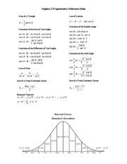 algebra 2 trigonometry formula sheet algebra 2 trigonometry rh coursehero com Examples Study Guide algebra 2 trigonometry regents study guide