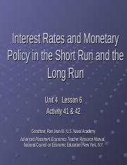 Interest Rates and Monetary Policy in the Shor Activity 41 & 42t.ppt