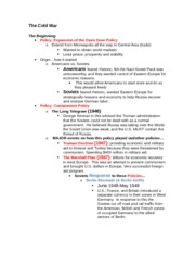 The Cold War GOOD Outline