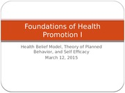 2015 03 12 Health Belief, Theory Planned Behavior, Self Efficacy