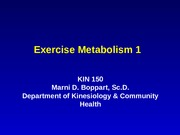Exercise Metabolism 1 Lecture Slides