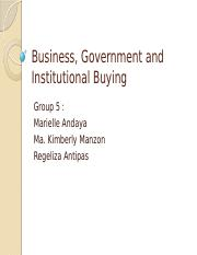 Business, Government and Institutional Buying