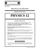Physics 12 Exam A - June 1999