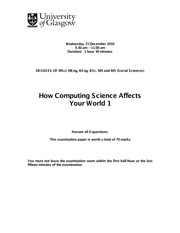 Exam on How computing science affects your world