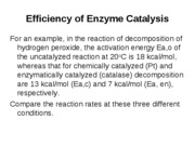 In-class example-Efficiency of Enzyme Catalysis