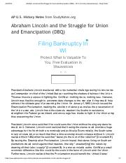 Abraham Lincoln and the Struggle for Union and Emancipation (DBQ) - AP U.S. History Sample Essays -
