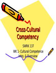 SWRK 137 Wk 1 Cultural Competence Intro. & Overview