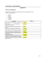 the five cs worksheet The five c's worksheet directions: identify the following factor descriptions to their corresponding c of credit the five c's are listed below.