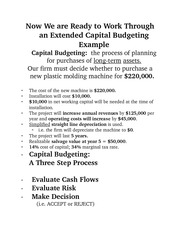Extended Capital Budgeting Example