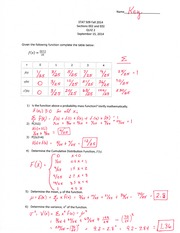 Statistics for Engineers Quiz 2 Answer Key