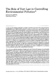 BASD505 Req Reading- Role of Tort Law in Controlling Environmental Pollution