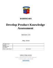 BSBPRO401 Develop Product Knowledge -.docx