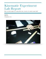 Kinematic Experiment Lab Report --- Ramp and rolling ball
