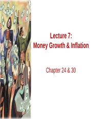 Lecture 7 Money growth and inflation FMT14 SP16