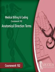 CW 102 - Lecture 02-  Anatomical Direction Terms