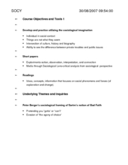Course Objectives and Tools 1 for Sociology