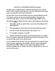 BIOL 121 Research (Disorder) Paper Assignment Online.docx