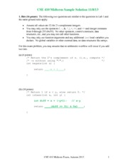 Midterm Exam Solution Fall 2013