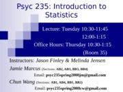 Introduction to Statistics Lecture