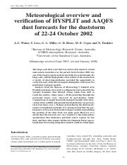 verification of HYSPLIT and AAQFS dust forecasts for dust storm