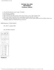 Electrical Engineering 40 - Fall 2001 - Oldham - Midterm 2