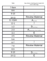 Schedule for pre-test day (non-class)