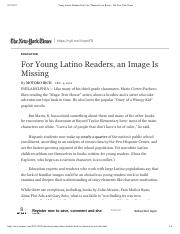 Young Latino Students Don't See Themselves in Books - The New York Times