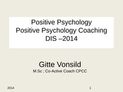 Class 8 Positive Psychology and Coaching