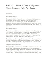 BSHS 311 Week 1 Team Assignment Team Summary Role Play Paper 1