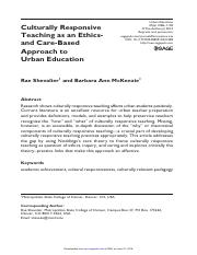 Culturally Responsive Teaching as an Ethics