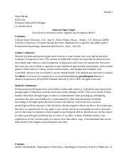 PSYC101 - Intro to Psychology - Abstract Assignment.docx