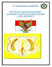 223690327 Sop Security 2012 Pdf Pt Putra Energy Nusantara Petunjuk Teknis Pengaman Standart Operating Procedure Sop Security Guard By Indra Jaya 2013 Course Hero